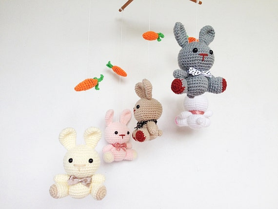 Amigurumi Plane Baby Mobile : Baby mobile Amigurumi Cute Bunny and carrots mobile Rabbit
