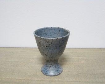 Vintage Blue Speckled Ceramic Vase