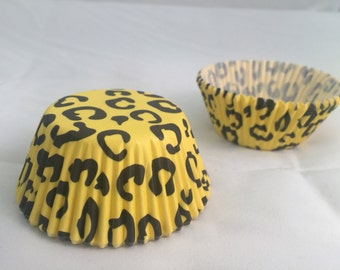 Yellow black cheetah baking cupcake liners #25