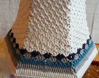 Crochet Lampshade.  100% cotton and Reloved frame. Blue and cream.