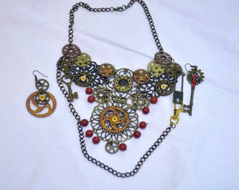 Steampunk set - necklace and earrings