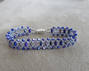 Multi-Blue Glass Bead Bracelet with Silver Accents and Magnetic Closure