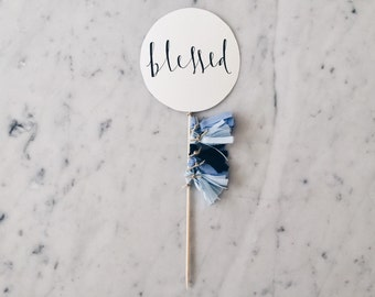 Cake Topper / Modern Calligraphy / Custom Hand Lettered/ Blue Silver / Made-To-Order/ Hand Made Mini Tassels / Birthday / Name Baby Boy