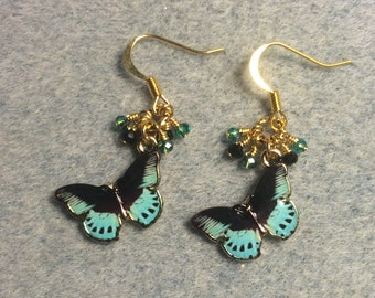 Teal and black enamel butterfly charm earrings adorned with tiny dangling teal and black Chinese crystal beads.