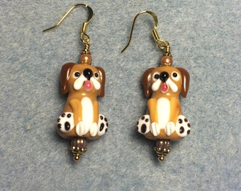 Brown puppy dog lampwork bead dangle earrings adorned with brown Czech glass beads.