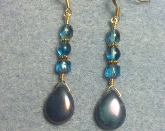 Turquoise bronze Picasso Czech glass briolette earrings adorned with turquoise Czech glass beads.