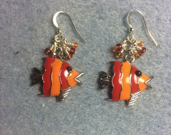 Orange and red striped enamel fish charm earrings adorned with tiny orange and red Chinese crystal beads.