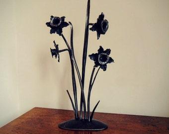 Forged Ironwork Daffodil Centrepiece, handmade by Tom Fell - Blacksmith