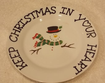 Vintage snowman decrative keep christmas in your heart plate