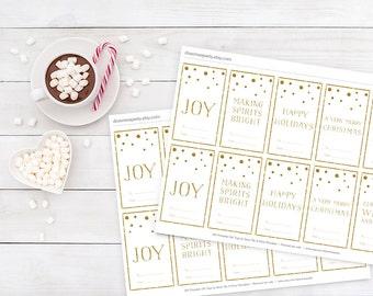 Christmas Gift Tag , Christmas Tag , Set of 6 Tags , Gold Christmas Tags , Printable Tag For Holiday Gifts , Christmas Gold Tag , DIY