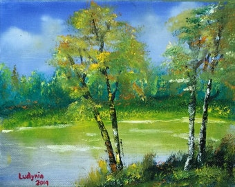 """BIRCHES 8""""X10"""" original oil painting on canvas"""