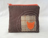 Unique cat zipper pouch with wool applique and embroidery, small clutch, small zippered bag