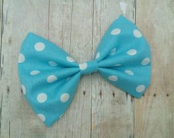 Sky Blue & White Polka Dot Fabric Hair Bow Clip or Headband / Polka Dot Hair Bow / Light Blue Polka Dot Hair Clip / Fabric Polka Dot Bow