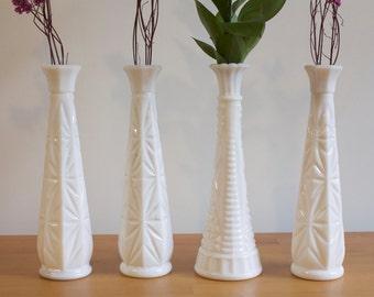 Vintage Milk glass Vase - Wedding decor lot of four