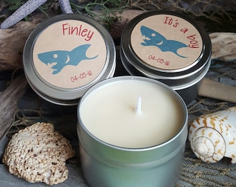 Set of 12 Baby Shower Candles - Shark Theme - Pirate Baby Shower - Custom Baby Shower Candles - 4 oz Mini Tin Soy Candles
