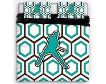 Baseball Bat Comforter, Baseball Bat Bed, Baseball Bat Bedding, Sports Comforter, Sports Bed, Twin, Full, Queen, King, Cotton