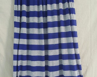 Sale! 20% Off!- Blue and grey striped maxi skirt