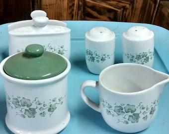 Ivy Salt and Pepper Shakers Napkin Holder Sugar Creamer Set Vintage Kitchen Storage