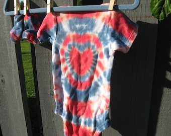 tie-dye baby onesie with socks