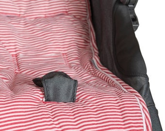 ON SALE Red Baby stroller liner/ stroller pad /Padded Stroller Cover/stripes collection/baby shower gift/ Baby Christmas Gift/