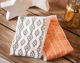 Aztec and Orange and White Burp Cloths: Set of 2