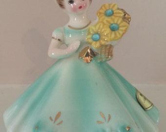 Josef March Birthday Girl figurine. Aquamarine 1950