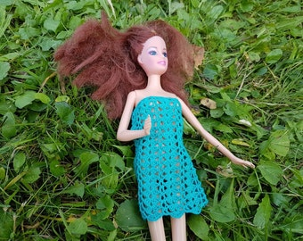 Barbie Doll's turquoise crocheted dress, a present for a girl, turquoise clothing for a Barbie Doll