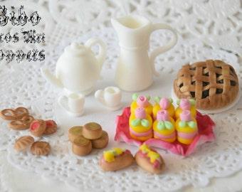 Edible 3D Tea Set Cake Decoration Fondant Topper , Birthday Cake Topper