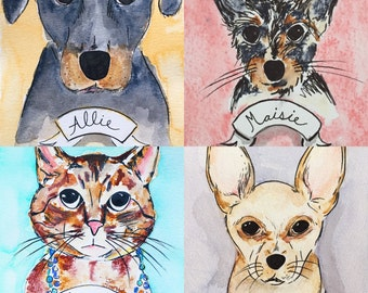 Any Breed Dog or Cat CUSTOM Pet Portrait Illustration