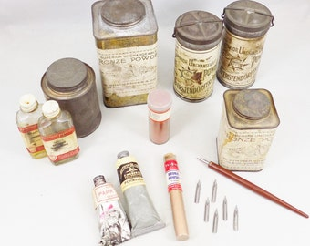 Bronze Powders, Gold Silver and Copper Powders, Vintage Artist and Crafting Supplies