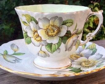 Crisp White Aynsley Pedestal Teacup and Saucer