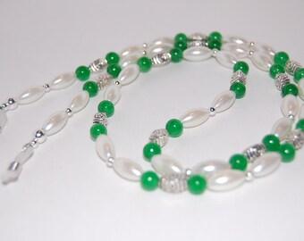 EyeGlass Chain,Glass Pearls,Jade Beads,Eyeglasses Necklace,Beaded Glasses Holder,Glass Chain,ID Lanyard,Gift for Her.beaded,Boho,Elegant
