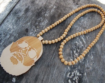 Hip Hop Jewelry,Mens Necklaces,Beaded Wood Jewelry,Handmade Natural Wood Beads,Man,Gifts Ideas for Him,Hip Hop Necklaces