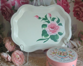 Vintage Toleware HP Pink Rose Tray, Cottage, Shabby Chic