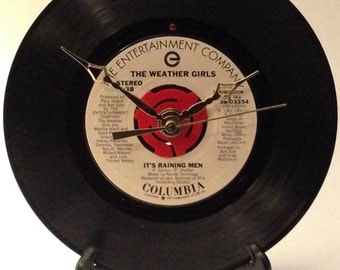 """Recycled THE WEATHER GIRLS 7"""" Record • It's Raining Men • Record Clock"""