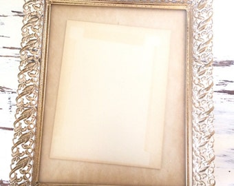 Vintage Metal Picture Frame, White and Gold with Nice Patina, Large Photo Frame