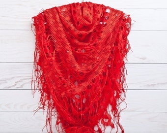 Red Lace Shawl, Summer scarf, Fashion Scarf, Valentines Day Gift Ideas, Many color variations