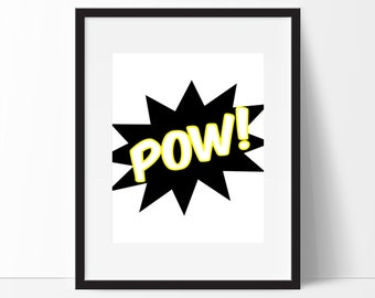 Pow Print, Superhero Printable, Superhero Inspired Print, Zap, Pow, Pow Wall Art, Superhero Wall Art, Boys Room Decor, Instant Download