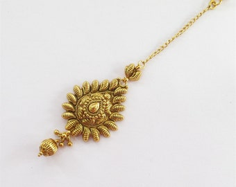 Gold Polish Tikka/ Maang Tikka Tika Headpiece Jewelry/ South Indian Jewelry/ Temple Jewelry Tikka/ Forehead tikka/ Decorative Headpieces
