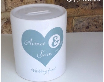 Personalised Money Box, Piggy Bank. Wedding fund, couple's names, available any colour