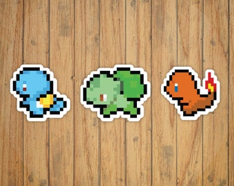 8-Bit Pokemon Starters Decal/Stickers (Squirtle, Charmander, Bulbasaur)