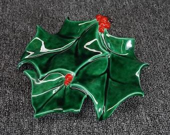 "7 1/2"" Poinsettia Leaf Decorative Plate"