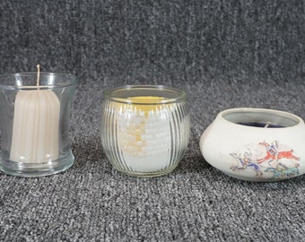 Assorted Candle Holder/Candle Collection (3 Items)