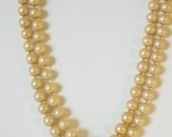 Double Strand Champagne Pearl Necklace