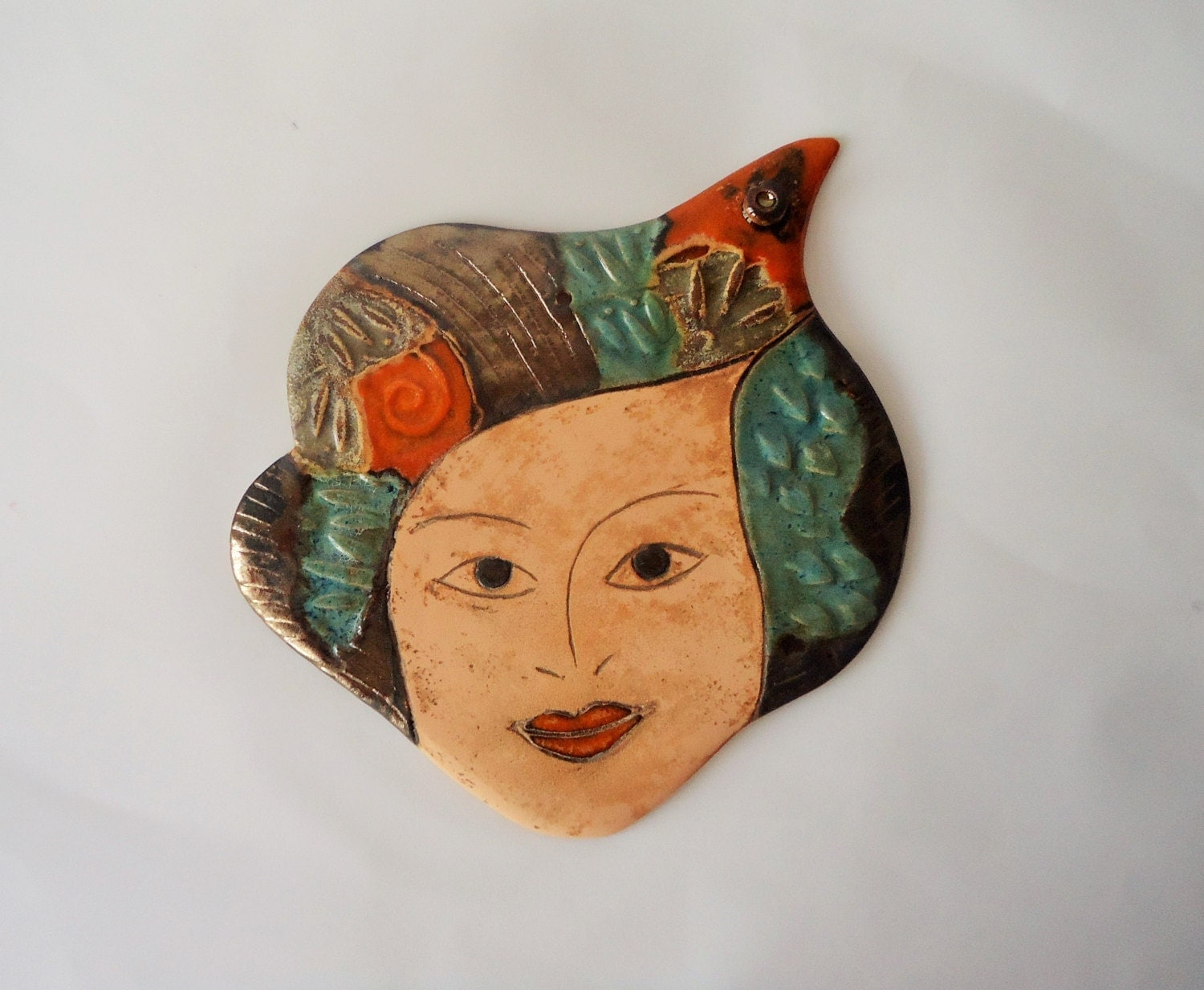 Ceramic Face Wall Hanging Wall Decor Wall Relief By Clayana