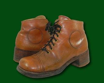 RARE Vintage 1960's FRYE Black Label Brown Leather Cap Toe Ankle Boots Sz 7 B