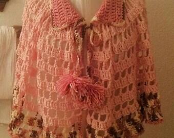 Hand Crocheted Pink Pom Pom Cape
