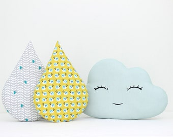 Cloud and rain drop pillows, cloud cushion, child pillow, kids pillow, decorative cushions, baby bedding, mint and mustard.