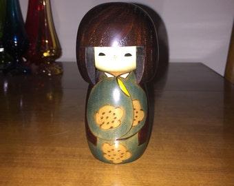 "Vintage Kokeshi wooden doll, 5 1/4"""