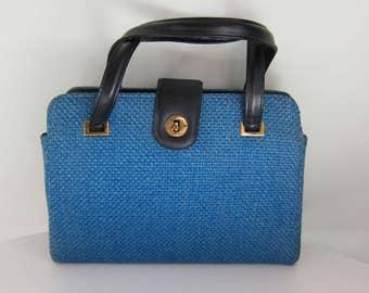 Vintage Blue Woven Handbag